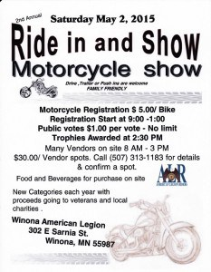 Ride in and Show Motorcycle Show @ Winona American Legion  | Winona | Minnesota | United States