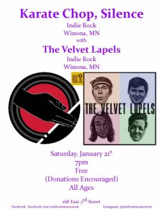 Karate Chop, Silence with The Velvet Lapels @ Mid West Music Store | Winona | Minnesota | United States